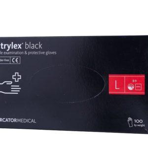Перчатки нитриловые неопудренные чёрные