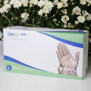 Перчатки виниловые неопудренные смотровые Care 365 Premium, 100шт/уп L