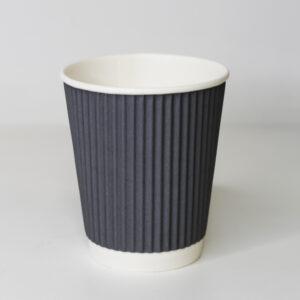 Стакан бумажный (250мл) Гофра Серый 25 шт/уп Ø80мм