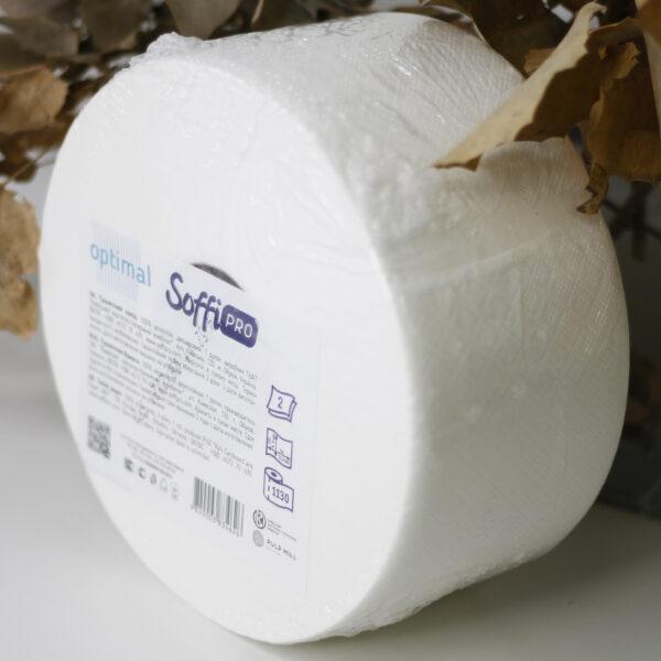 Туалетная бумага ДЖАМБО целлюлозная SoffiPRO Optimal, 2 слоя, белая