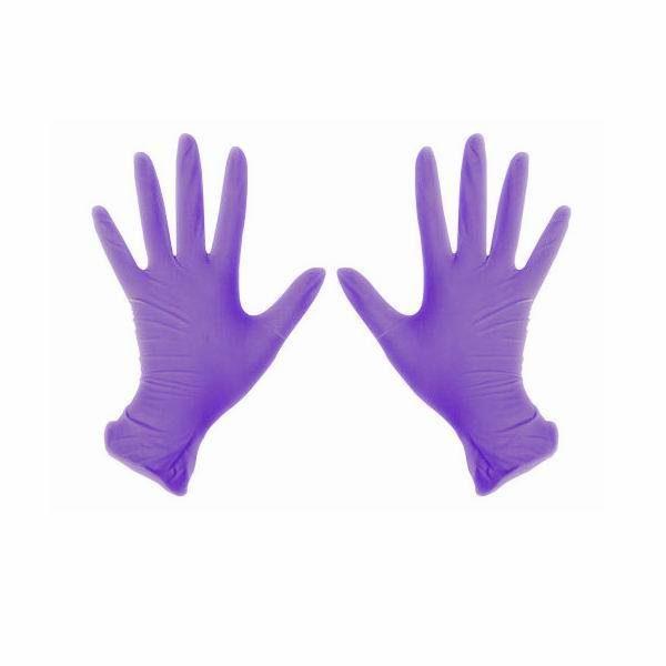 Перчатки нитриловые неопудренные сереневые