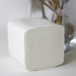 Салфетка для диспенсера Soft V, 300л, 2 слоя, белая целлюлозная