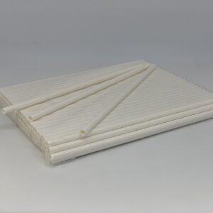 Трубочка бумажная, белая, 6*190мм, 100шт/уп