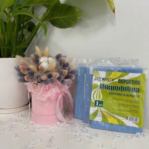 Салфетка из микрофибры для стекла Ecopack, 30*30, 1шт/уп, ( 50уп/ящ)