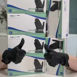 Перчатки витриловые неопудреные черный SYNMAX, 100шт/уп M