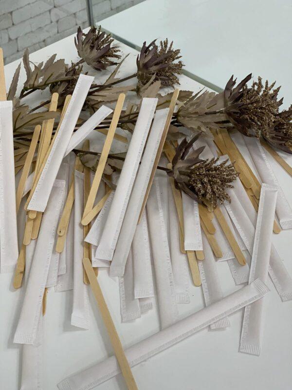 Мешалки деревянные в индивидуальной упаковке 14см, 500шт/уп