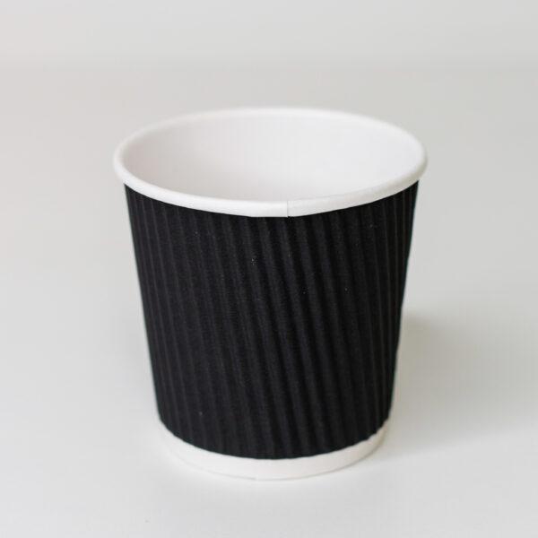 Стакан бумажный гофрированный Ripple 110 мл (черный) 30 шт/уп
