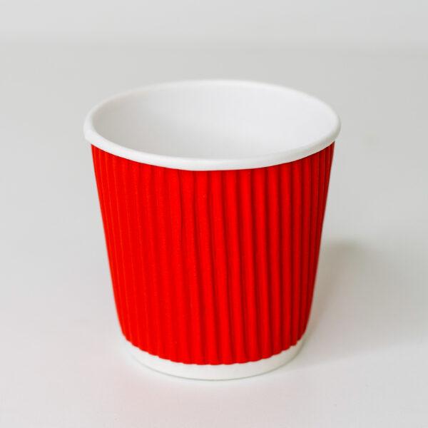 Стакан бумажный гофрированный Ripple 110 мл (красный) 30 шт/уп