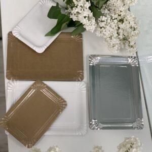 Тарелка бумажная 15*22 см Белая с ламинацией, 100шт/уп