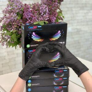 Перчатки нитриловые ЧЕРНЫЕ смотровые неприпудреные Care 365, 100шт/уп S