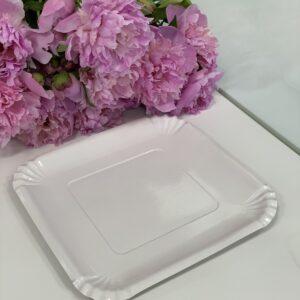 Тарелка бумажная 21*21 см Белая с ламинацией, 100шт/уп