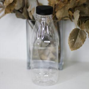 Бутылка 0,5 л прозрачная ребристая с крышкой