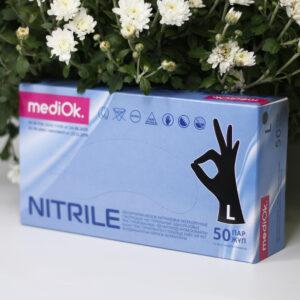 Перчатки нитриловые ЧЕРНЫЕ MediOk, 100шт/уп L