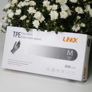 Перчатки TPE черные M UNEX, 200шт/уп
